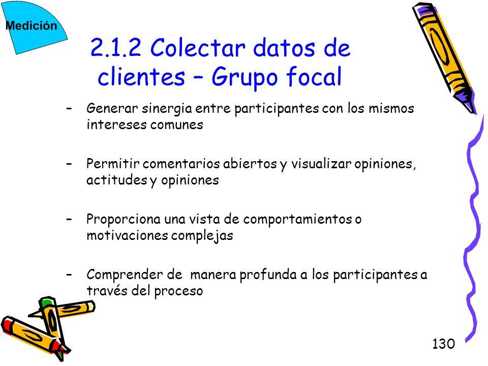 130 2.1.2 Colectar datos de clientes – Grupo focal –Generar sinergia entre participantes con los mismos intereses comunes –Permitir comentarios abiert
