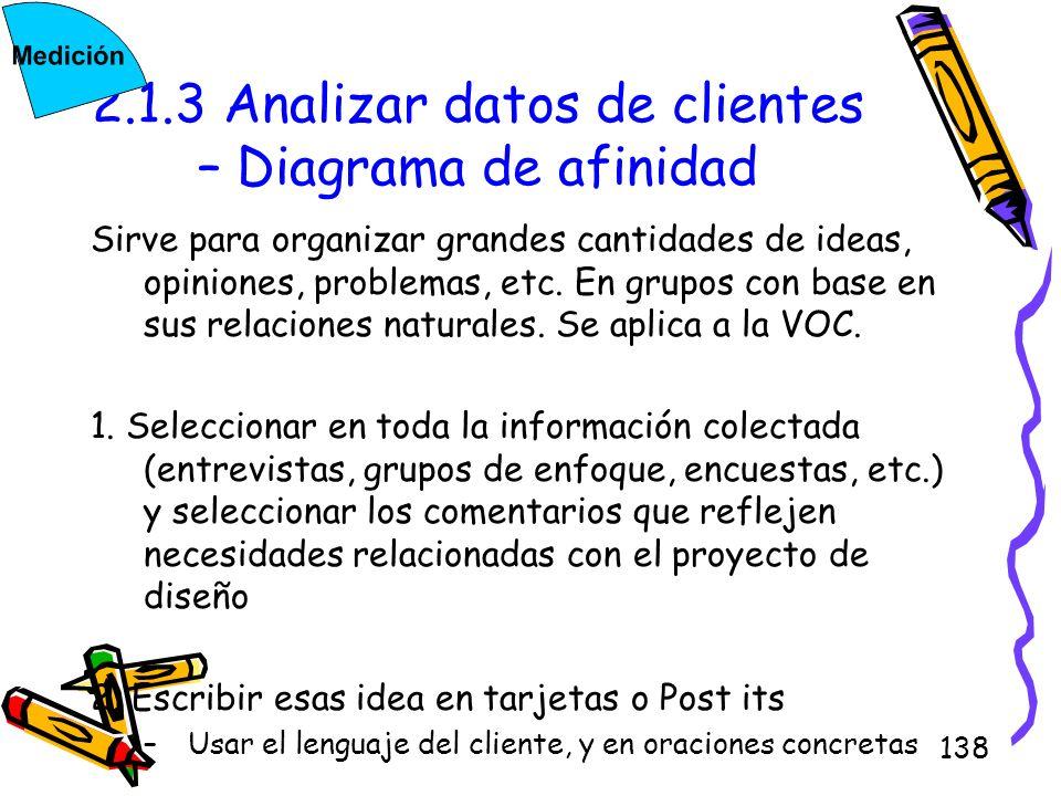 138 2.1.3 Analizar datos de clientes – Diagrama de afinidad Sirve para organizar grandes cantidades de ideas, opiniones, problemas, etc. En grupos con
