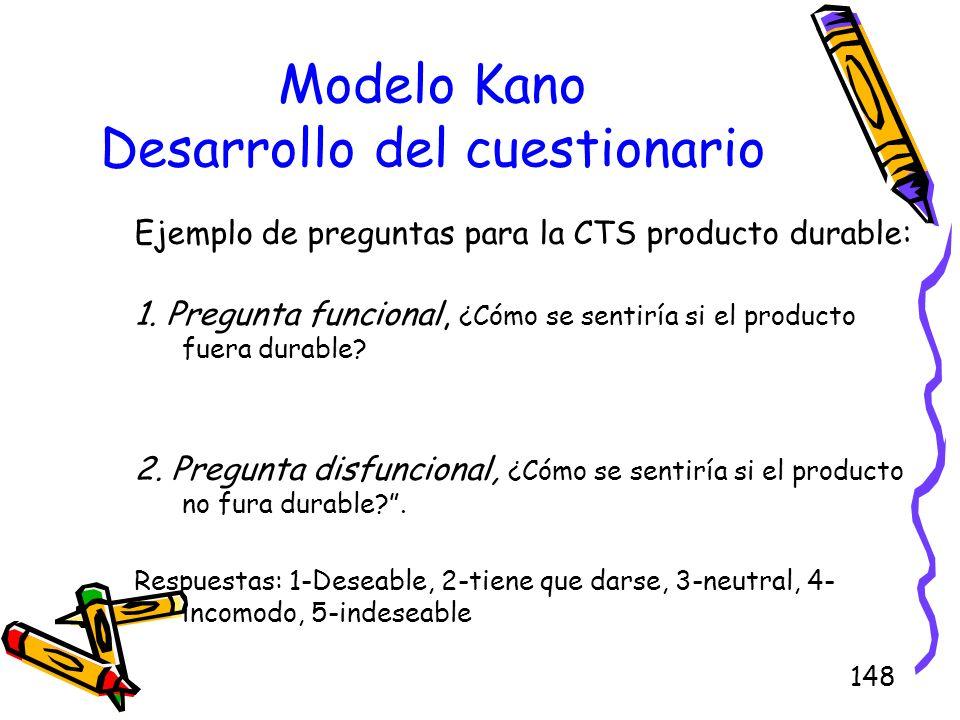 148 Modelo Kano Desarrollo del cuestionario Ejemplo de preguntas para la CTS producto durable: 1. Pregunta funcional, ¿Cómo se sentiría si el producto