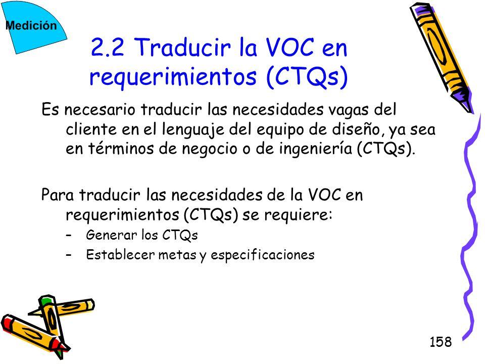 158 2.2 Traducir la VOC en requerimientos (CTQs) Es necesario traducir las necesidades vagas del cliente en el lenguaje del equipo de diseño, ya sea e