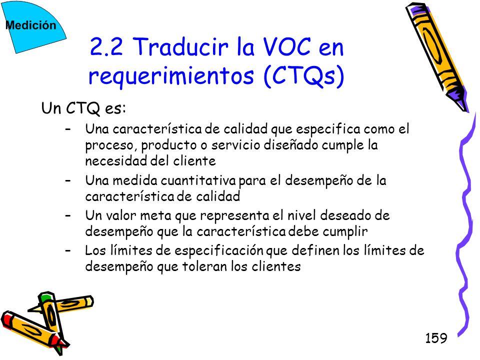 159 2.2 Traducir la VOC en requerimientos (CTQs) Un CTQ es: –Una característica de calidad que especifica como el proceso, producto o servicio diseñad