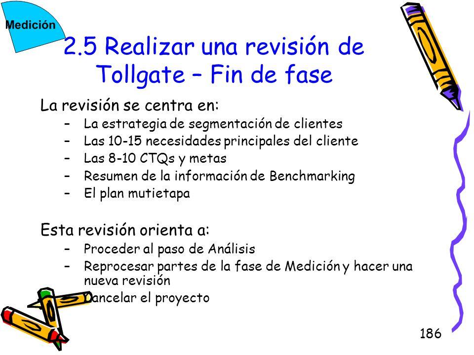 186 2.5 Realizar una revisión de Tollgate – Fin de fase La revisión se centra en: –La estrategia de segmentación de clientes –Las 10-15 necesidades pr