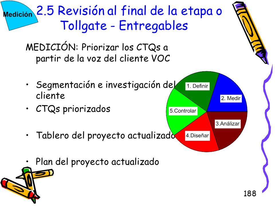 188 2.5 Revisión al final de la etapa o Tollgate - Entregables MEDICIÓN: Priorizar los CTQs a partir de la voz del cliente VOC Segmentación e investig