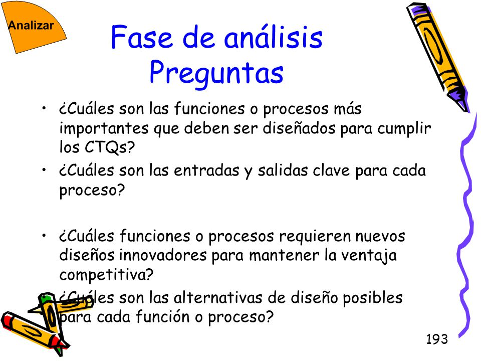 193 Fase de análisis Preguntas ¿Cuáles son las funciones o procesos más importantes que deben ser diseñados para cumplir los CTQs? ¿Cuáles son las ent