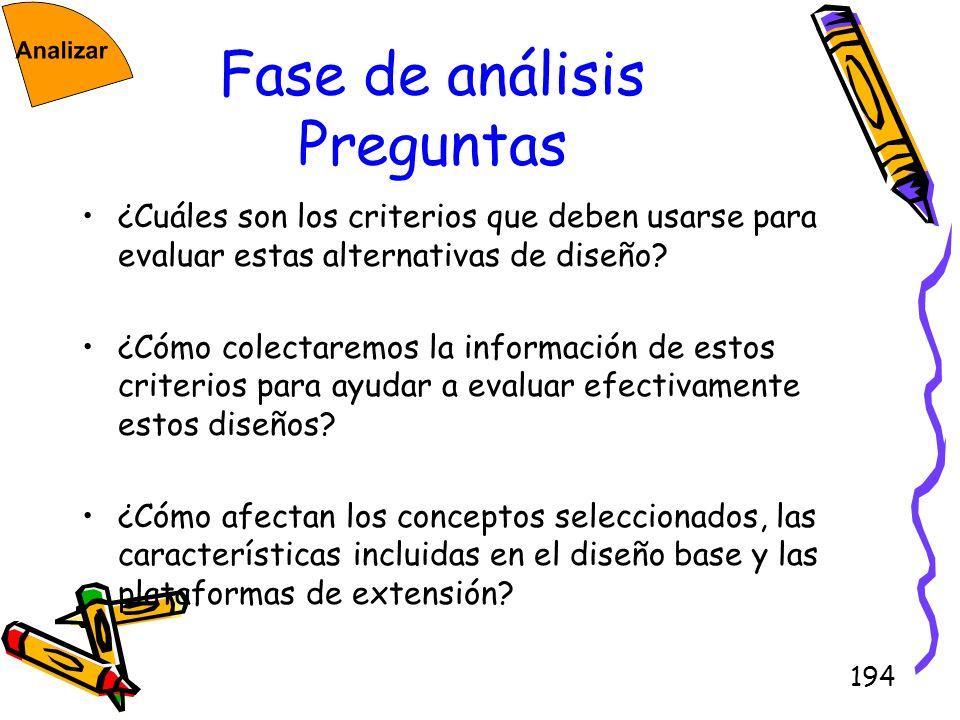 194 Fase de análisis Preguntas ¿Cuáles son los criterios que deben usarse para evaluar estas alternativas de diseño? ¿Cómo colectaremos la información