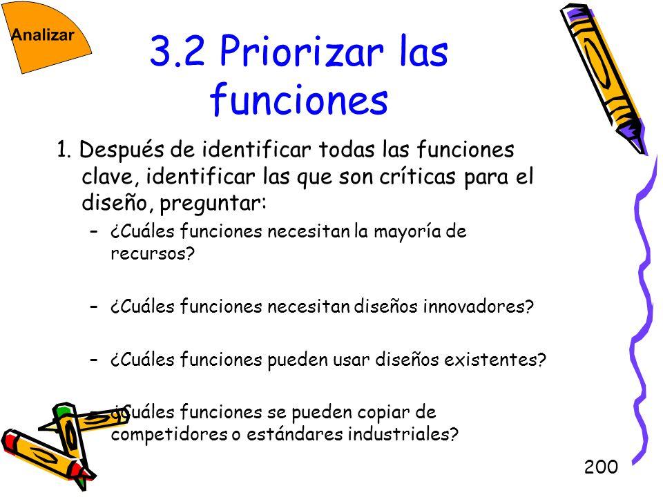 200 3.2 Priorizar las funciones 1. Después de identificar todas las funciones clave, identificar las que son críticas para el diseño, preguntar: –¿Cuá
