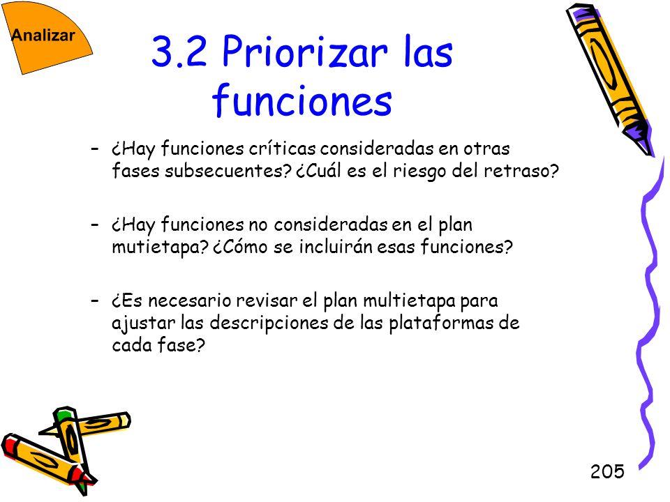 205 3.2 Priorizar las funciones –¿Hay funciones críticas consideradas en otras fases subsecuentes? ¿Cuál es el riesgo del retraso? –¿Hay funciones no