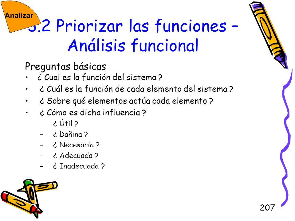 207 3.2 Priorizar las funciones – Análisis funcional Preguntas básicas ¿ Cual es la función del sistema ? ¿ Cuál es la función de cada elemento del si
