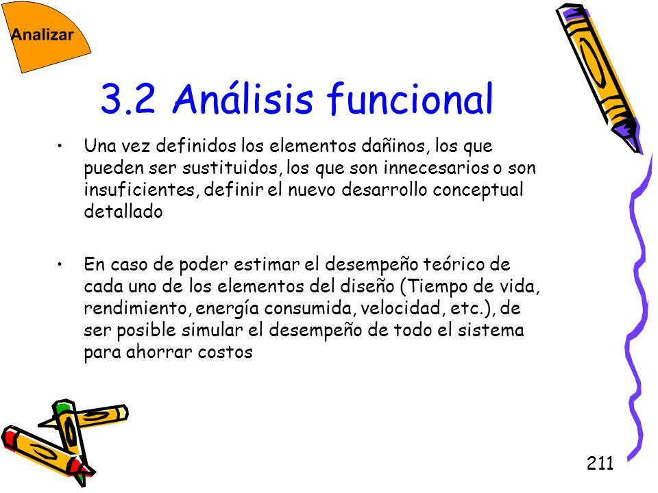 211 3.2 Análisis funcional Una vez definidos los elementos dañinos, los que pueden ser sustituidos, los que son innecesarios o son insuficientes, defi