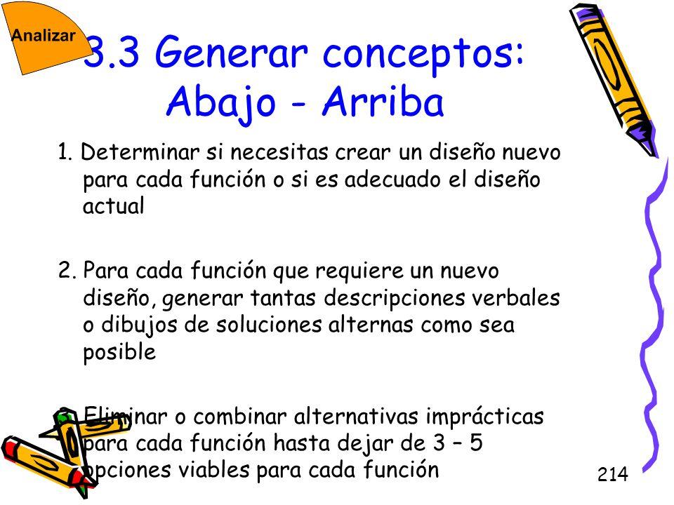 214 3.3 Generar conceptos: Abajo - Arriba 1. Determinar si necesitas crear un diseño nuevo para cada función o si es adecuado el diseño actual 2. Para