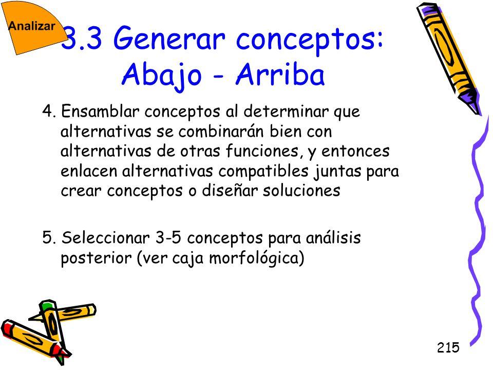215 3.3 Generar conceptos: Abajo - Arriba 4. Ensamblar conceptos al determinar que alternativas se combinarán bien con alternativas de otras funciones