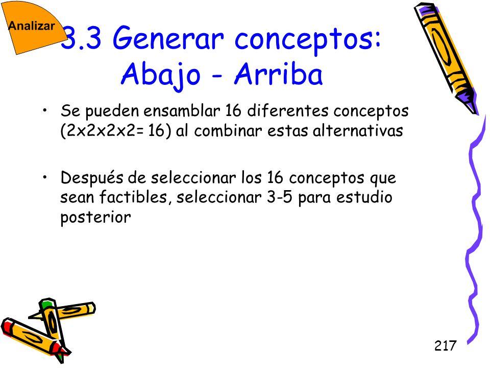 217 3.3 Generar conceptos: Abajo - Arriba Se pueden ensamblar 16 diferentes conceptos (2x2x2x2= 16) al combinar estas alternativas Después de seleccio