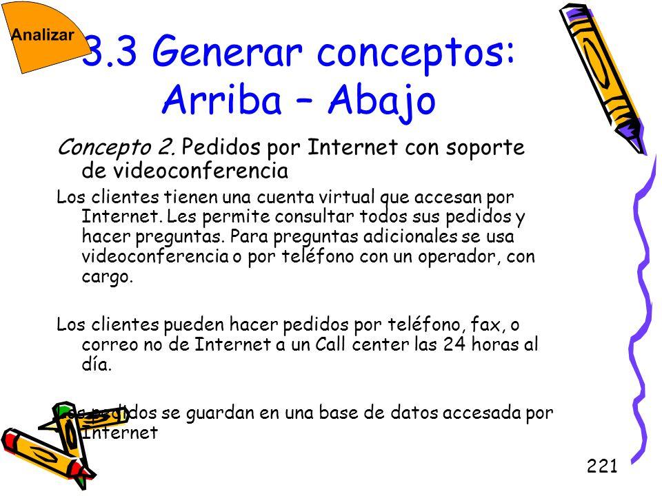 221 3.3 Generar conceptos: Arriba – Abajo Concepto 2. Pedidos por Internet con soporte de videoconferencia Los clientes tienen una cuenta virtual que
