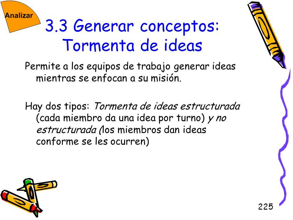 225 3.3 Generar conceptos: Tormenta de ideas Permite a los equipos de trabajo generar ideas mientras se enfocan a su misión. Hay dos tipos: Tormenta d