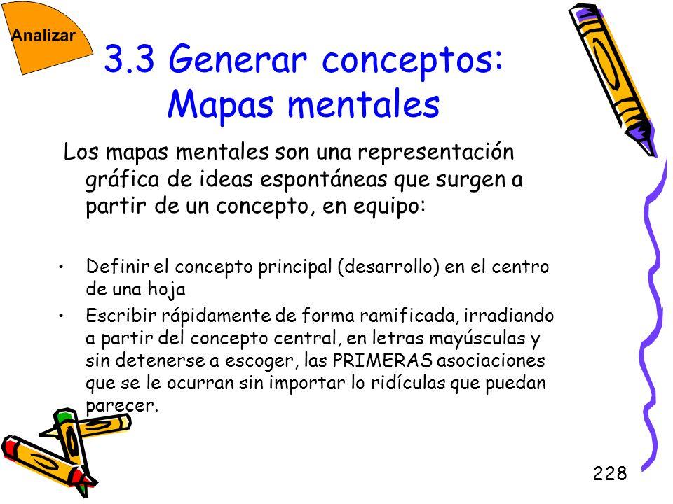 228 3.3 Generar conceptos: Mapas mentales Los mapas mentales son una representación gráfica de ideas espontáneas que surgen a partir de un concepto, e