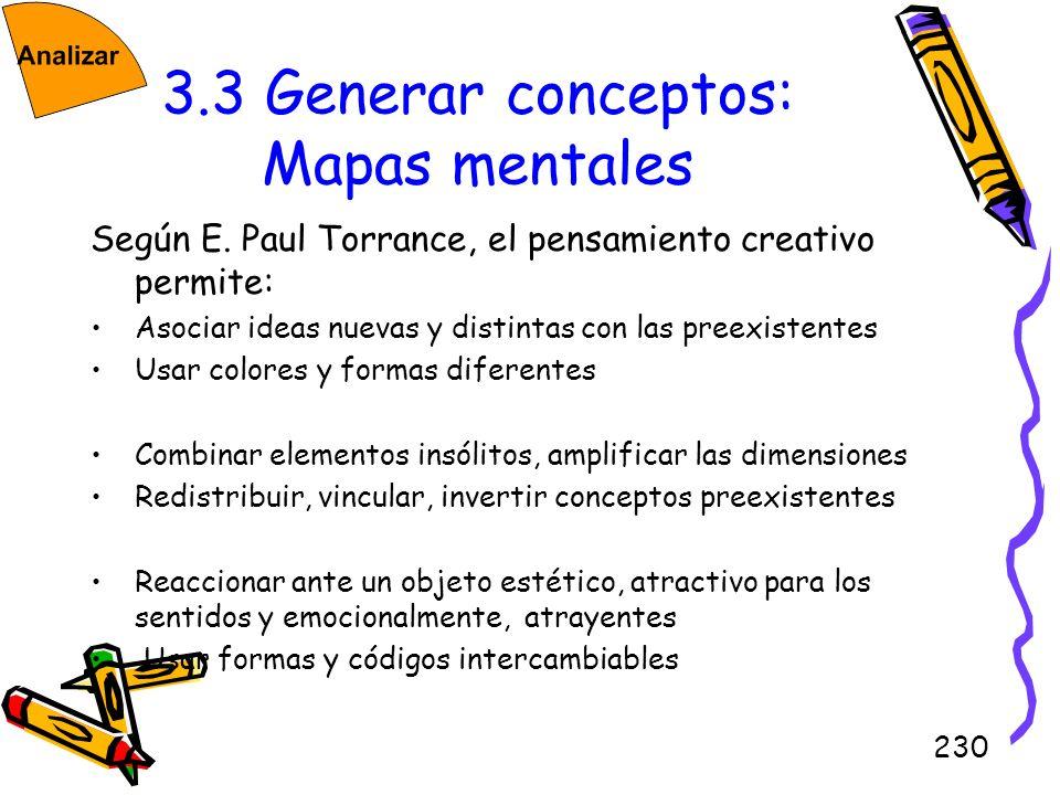230 3.3 Generar conceptos: Mapas mentales Según E. Paul Torrance, el pensamiento creativo permite: Asociar ideas nuevas y distintas con las preexisten