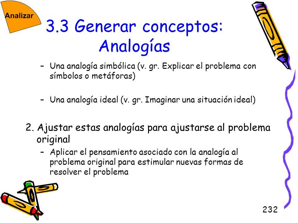 232 3.3 Generar conceptos: Analogías –Una analogía simbólica (v. gr. Explicar el problema con símbolos o metáforas) –Una analogía ideal (v. gr. Imagin