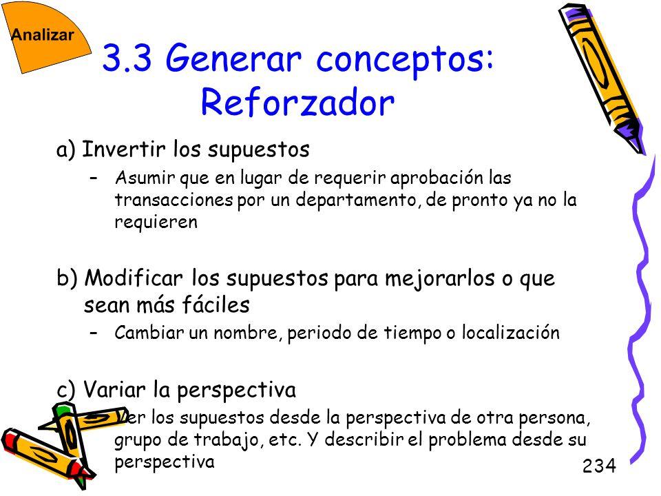 234 3.3 Generar conceptos: Reforzador a) Invertir los supuestos –Asumir que en lugar de requerir aprobación las transacciones por un departamento, de