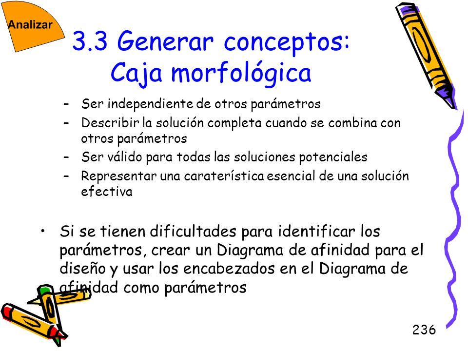 236 3.3 Generar conceptos: Caja morfológica –Ser independiente de otros parámetros –Describir la solución completa cuando se combina con otros parámet