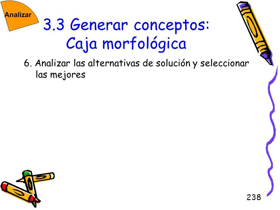 238 3.3 Generar conceptos: Caja morfológica 6. Analizar las alternativas de solución y seleccionar las mejores