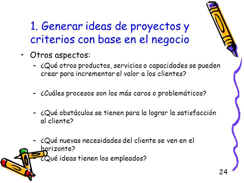 24 1. Generar ideas de proyectos y criterios con base en el negocio Otros aspectos: –¿Qué otros productos, servicios o capacidades se pueden crear par