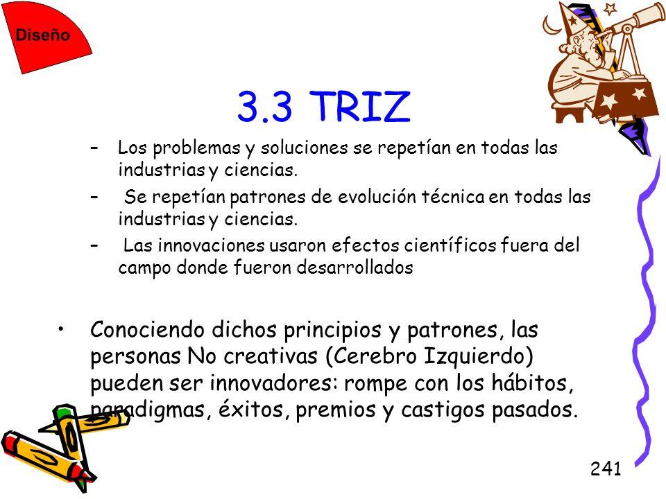 241 3.3 TRIZ –Los problemas y soluciones se repetían en todas las industrias y ciencias. – Se repetían patrones de evolución técnica en todas las indu