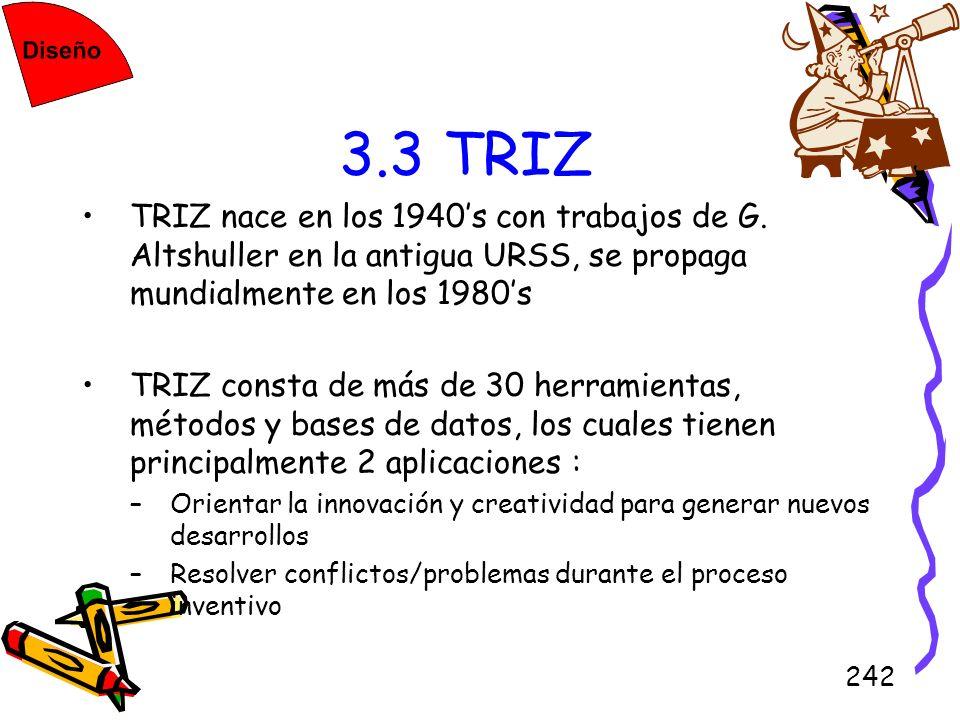 242 3.3 TRIZ TRIZ nace en los 1940s con trabajos de G. Altshuller en la antigua URSS, se propaga mundialmente en los 1980s TRIZ consta de más de 30 he