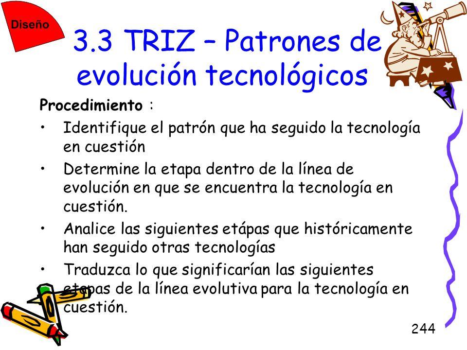 244 3.3 TRIZ – Patrones de evolución tecnológicos Procedimiento : Identifique el patrón que ha seguido la tecnología en cuestión Determine la etapa de