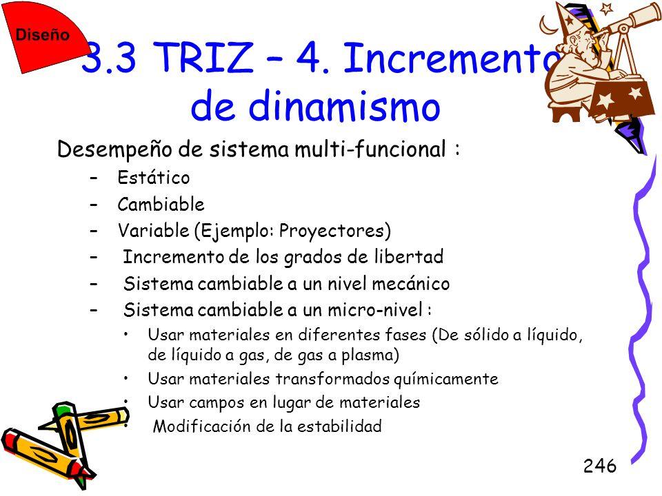 246 3.3 TRIZ – 4. Incremento de dinamismo Desempeño de sistema multi-funcional : –Estático –Cambiable –Variable (Ejemplo: Proyectores) – Incremento de