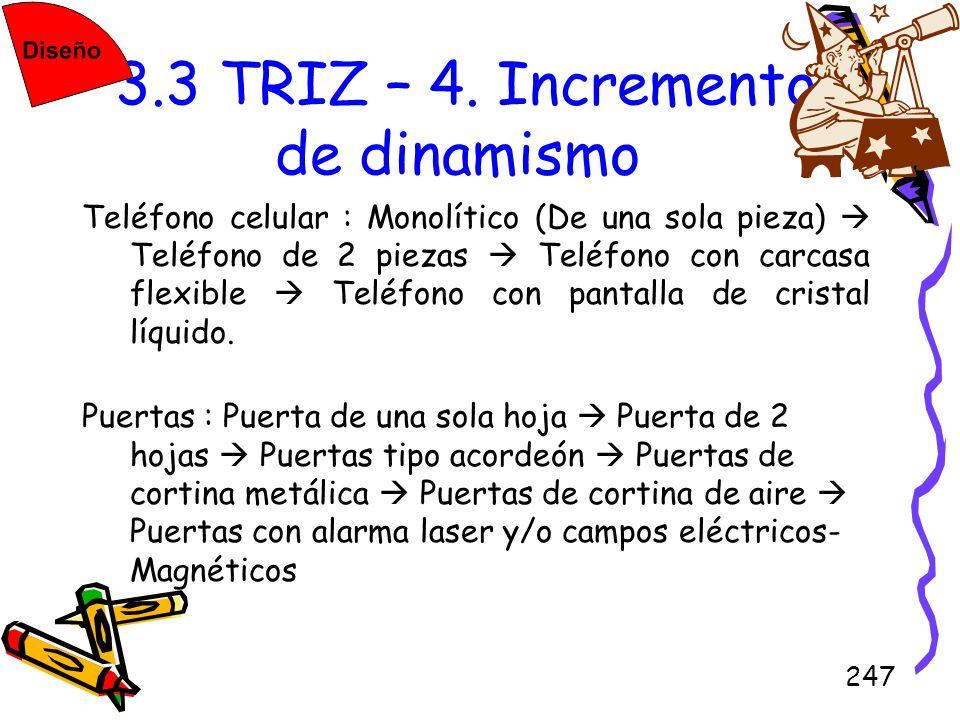 247 3.3 TRIZ – 4. Incremento de dinamismo Teléfono celular : Monolítico (De una sola pieza) Teléfono de 2 piezas Teléfono con carcasa flexible Teléfon