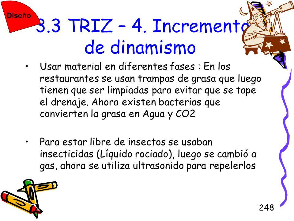 248 3.3 TRIZ – 4. Incremento de dinamismo Usar material en diferentes fases : En los restaurantes se usan trampas de grasa que luego tienen que ser li