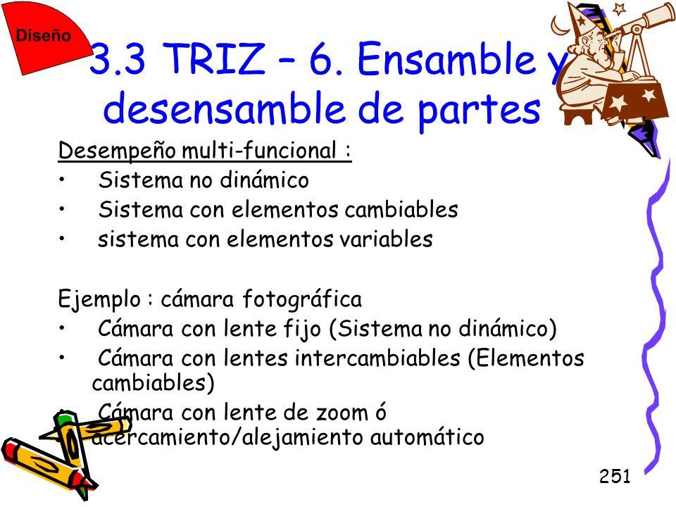 251 3.3 TRIZ – 6. Ensamble y desensamble de partes Desempeño multi-funcional : Sistema no dinámico Sistema con elementos cambiables sistema con elemen