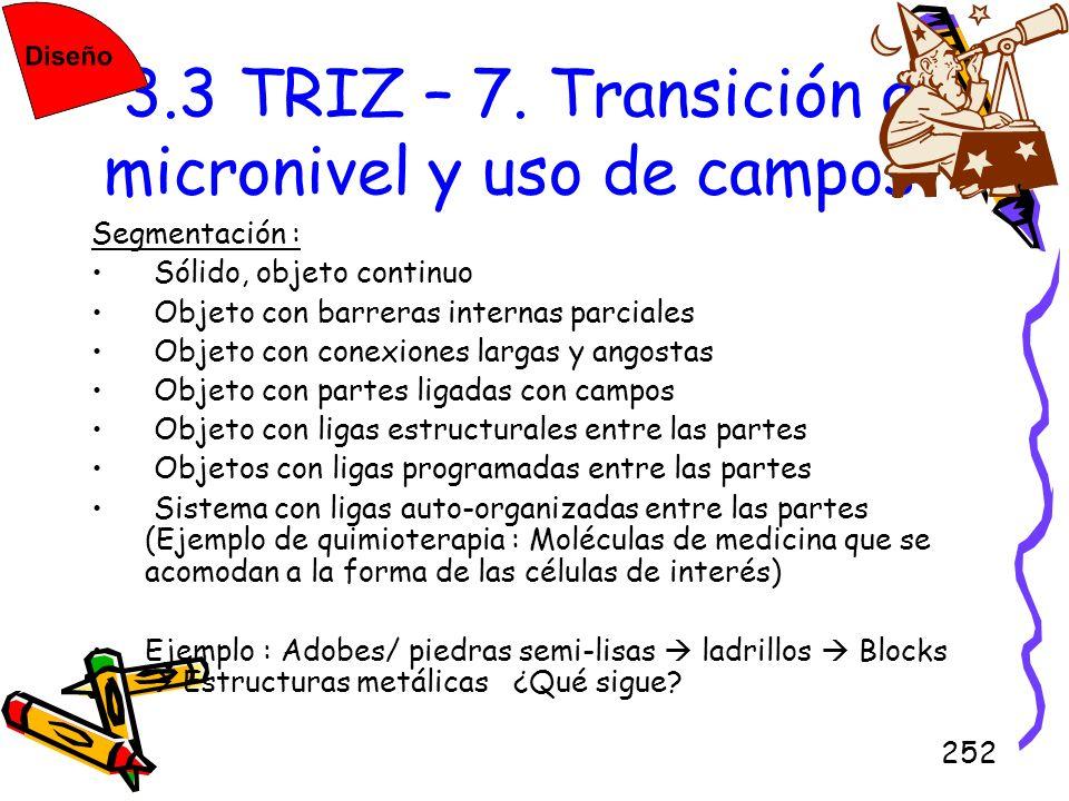 252 3.3 TRIZ – 7. Transición a micronivel y uso de campos Segmentación : Sólido, objeto continuo Objeto con barreras internas parciales Objeto con con