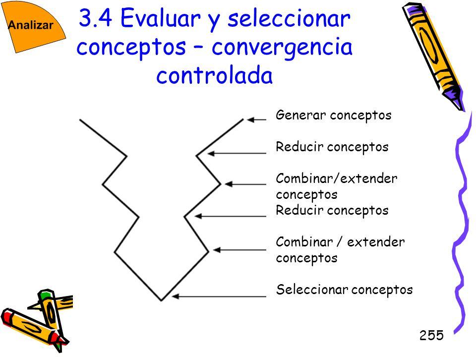 255 3.4 Evaluar y seleccionar conceptos – convergencia controlada Generar conceptos Reducir conceptos Combinar/extender conceptos Reducir conceptos Co