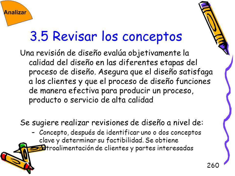 260 3.5 Revisar los conceptos Una revisión de diseño evalúa objetivamente la calidad del diseño en las diferentes etapas del proceso de diseño. Asegur