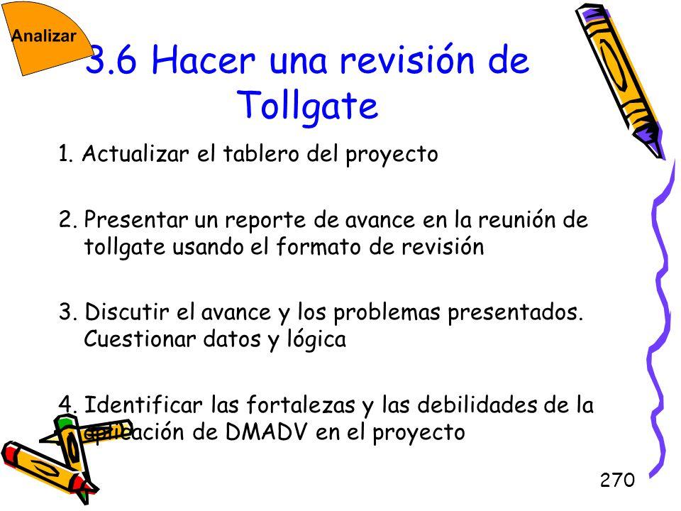 270 3.6 Hacer una revisión de Tollgate 1. Actualizar el tablero del proyecto 2. Presentar un reporte de avance en la reunión de tollgate usando el for
