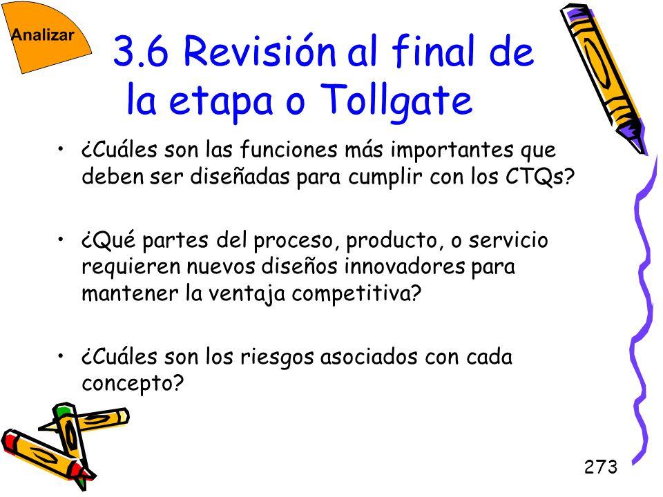 273 3.6 Revisión al final de la etapa o Tollgate ¿Cuáles son las funciones más importantes que deben ser diseñadas para cumplir con los CTQs? ¿Qué par