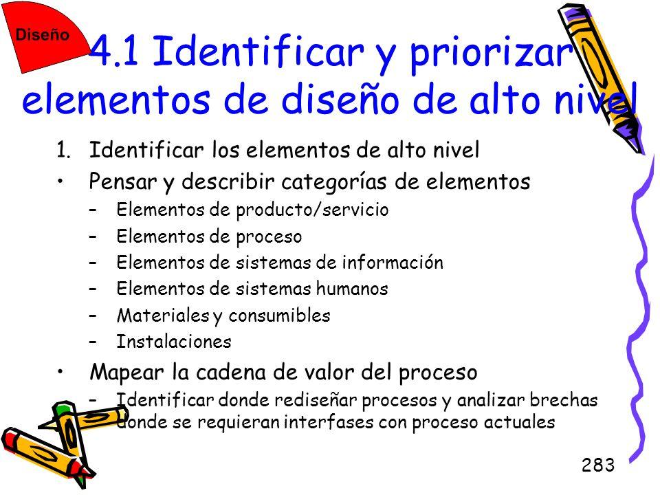 283 4.1 Identificar y priorizar elementos de diseño de alto nivel 1.Identificar los elementos de alto nivel Pensar y describir categorías de elementos