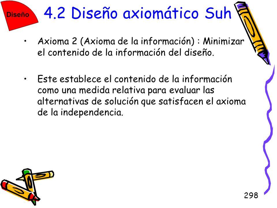 298 4.2 Diseño axiomático Suh Axioma 2 (Axioma de la información) : Minimizar el contenido de la información del diseño. Este establece el contenido d