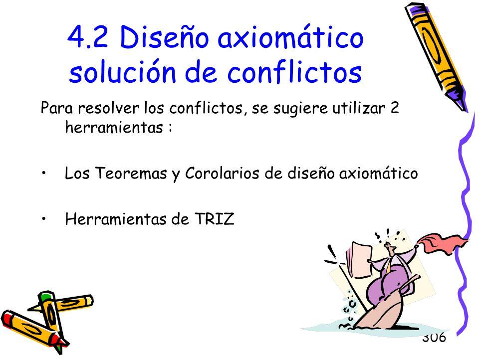 306 4.2 Diseño axiomático solución de conflictos Para resolver los conflictos, se sugiere utilizar 2 herramientas : Los Teoremas y Corolarios de diseñ