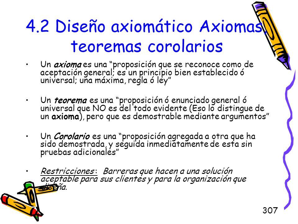 307 4.2 Diseño axiomático Axiomas, teoremas corolarios Un axioma es una proposición que se reconoce como de aceptación general; es un principio bien e