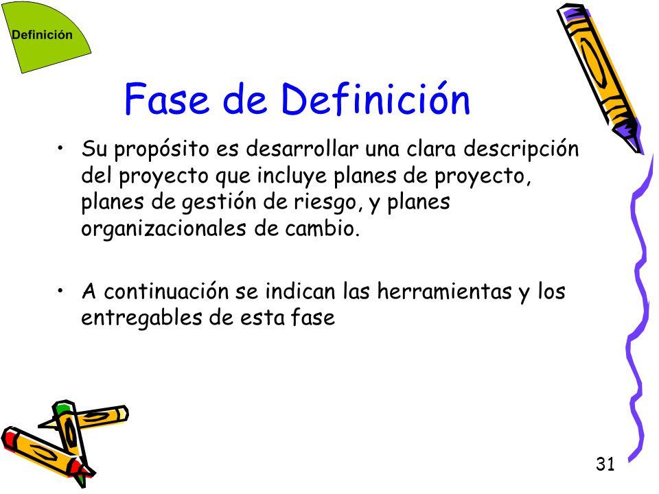 31 Fase de Definición Su propósito es desarrollar una clara descripción del proyecto que incluye planes de proyecto, planes de gestión de riesgo, y pl
