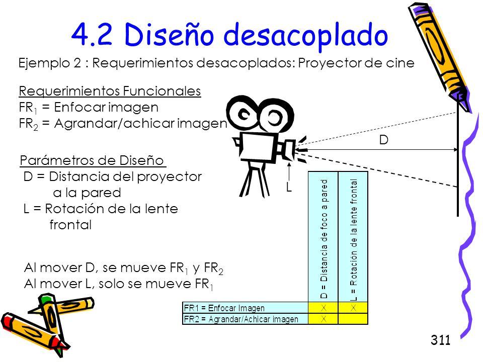 311 4.2 Diseño desacoplado Ejemplo 2 : Requerimientos desacoplados: Proyector de cine D L Requerimientos Funcionales FR 1 = Enfocar imagen FR 2 = Agra