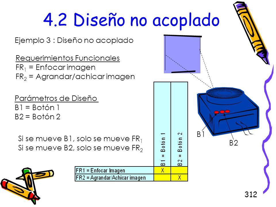 312 4.2 Diseño no acoplado Ejemplo 3 : Diseño no acoplado Requerimientos Funcionales FR 1 = Enfocar imagen FR 2 = Agrandar/achicar imagen Parámetros d