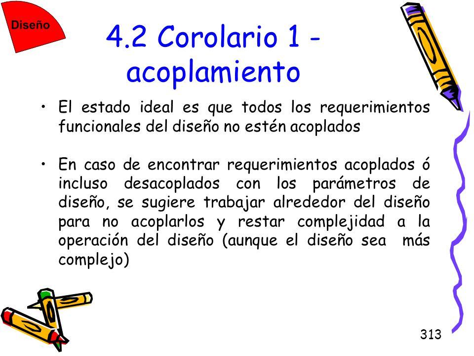 313 4.2 Corolario 1 - acoplamiento El estado ideal es que todos los requerimientos funcionales del diseño no estén acoplados En caso de encontrar requ