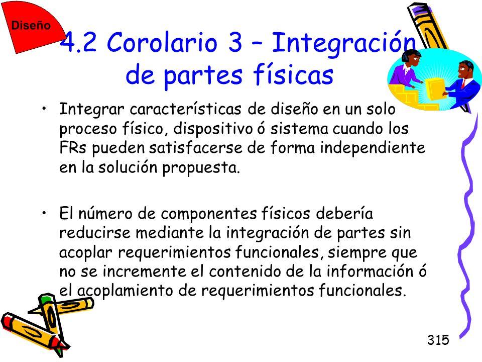 315 4.2 Corolario 3 – Integración de partes físicas Integrar características de diseño en un solo proceso físico, dispositivo ó sistema cuando los FRs