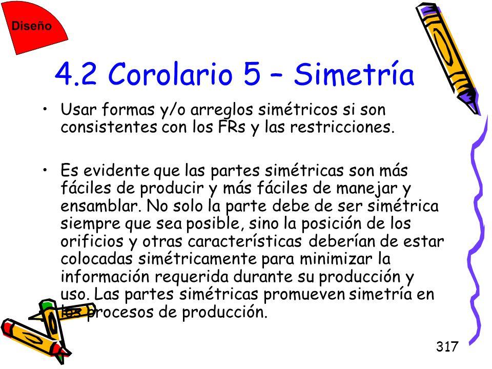 317 4.2 Corolario 5 – Simetría Usar formas y/o arreglos simétricos si son consistentes con los FRs y las restricciones. Es evidente que las partes sim