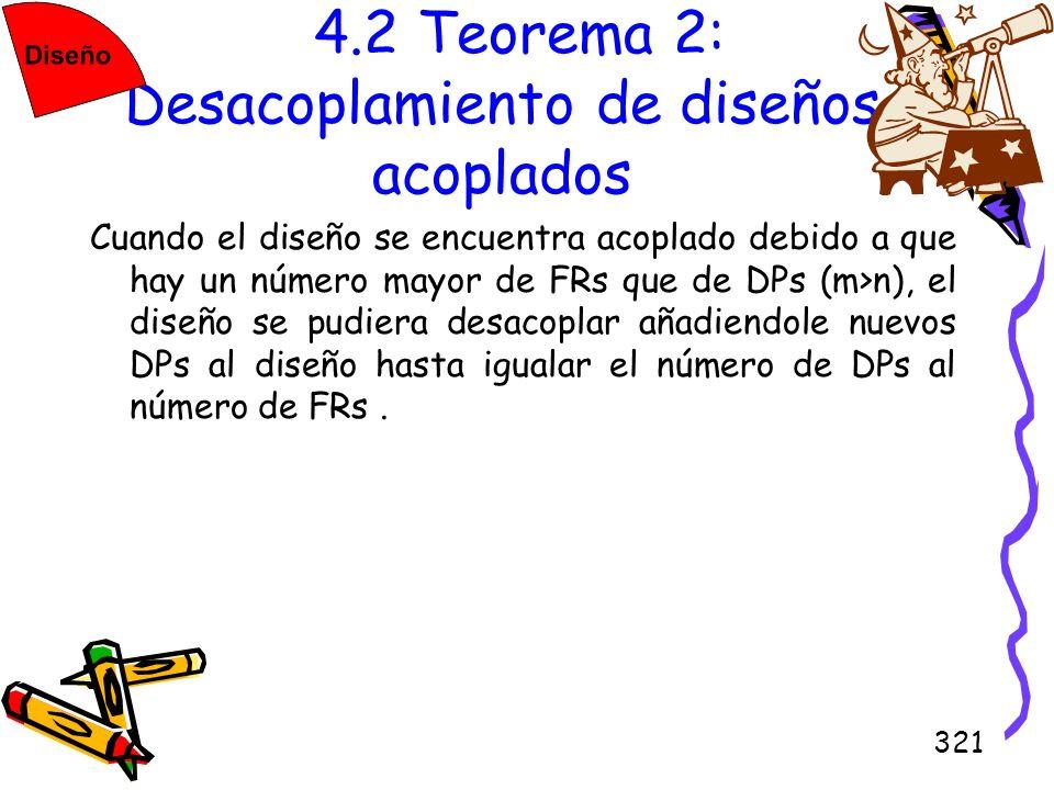 321 4.2 Teorema 2: Desacoplamiento de diseños acoplados Cuando el diseño se encuentra acoplado debido a que hay un número mayor de FRs que de DPs (m>n