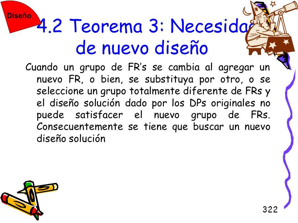322 4.2 Teorema 3: Necesidad de nuevo diseño Cuando un grupo de FRs se cambia al agregar un nuevo FR, o bien, se substituya por otro, o se seleccione