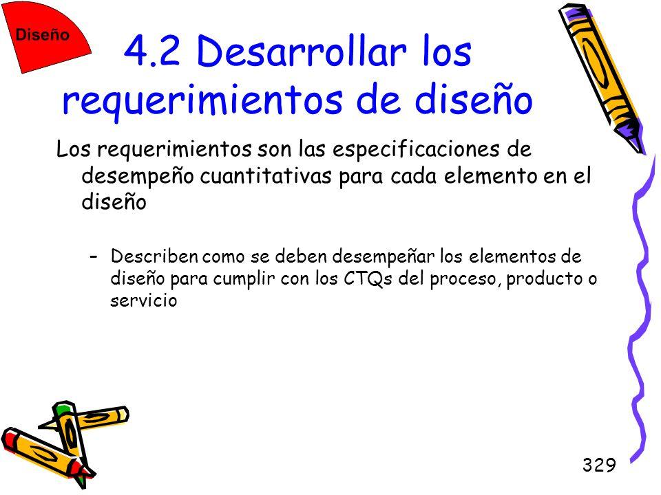 329 4.2 Desarrollar los requerimientos de diseño Los requerimientos son las especificaciones de desempeño cuantitativas para cada elemento en el diseñ